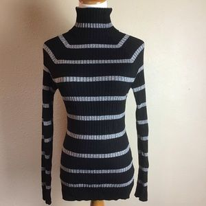 INC Black and Silver ribbed turtleneck sweater